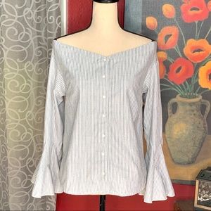 Umgee gray/white pinstripe off-shoulder blouse